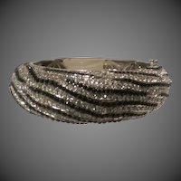Joan Boyce Crystal Zebra Hinged Bangle Bracelet Silver tone