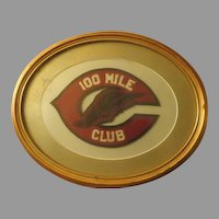 Vintage 100 mile Club hand stitched felt Patch Framed
