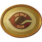 Vintage 100 mile Club hand stitched felt Patch Framed