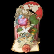 Old die cut  pop up Valentine Card excellent Condition Germany