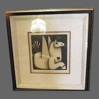 Vintage Carolyn Jablonsky Winged Horse AP Artist Proof Hand signed Fine art