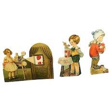 Vintage movable Mechanical Valentine Cards ~ set of three~ Sweet Jam,Hearts ,Girl Boy