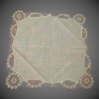 Antique Hand made Lace Wedding Handkerchief Hanky