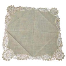 Antique Hand made Lace Wedding Handkerchief Hanky