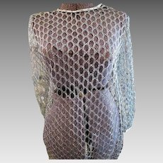 Vintage Womens Silver Thread 1960s GoGo cage Dress