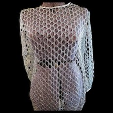 Vintage Womens Silver Thread 1960s GoGo cage Dress - Red Tag Sale Item