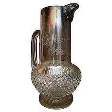 Antique Cut Glass Civil War Pitcher 1863-1878