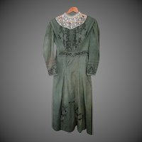 Antique green beaded dress w/ matching purse
