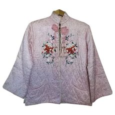 Vintage Japanese / Chinese Pink quilted Jacket w/ embroidery