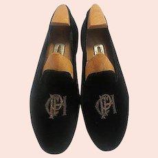 Vintage Pair of Monogrammed Evening Slippers - Black velvet with gold bouillon Maxwell Dover Street, London Custom made