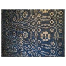 Antique American Homespun Wool Coverlet Circa 1840 75 x 100 inches blue