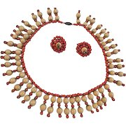 Vintage Coral Glass beaded cleopatra Necklace and Earrings set