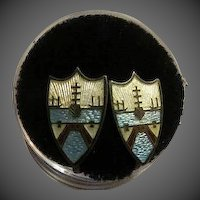 Vintage Guilloche Enamel Shield Crest Screwback earrings