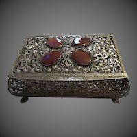 Antique 800 Silver Casket Box w/ Carnelian Gemstones