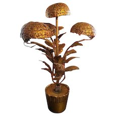 Vintage Mid-Century Italian Gilt Metal Potted Hydrangea Table Lamp