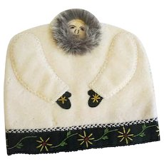 Vintage inuit Hand made wool and fur Tea Cozy