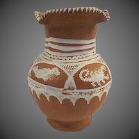 Vintage hand made/ painted mexican clay slipware Vase