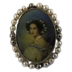 Antique Victorian Sterling Silver Miniature Portrait Pin Sterling Silver And Pearl Hand Painted Portrait Pin