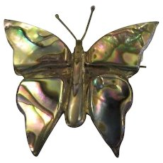 Taxco Mexico Vintage Sterling Silver with Abalone Inlay Butterfly Pin Brooch