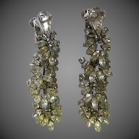 Vintage Vendome Rhinestone Dangle Earrings