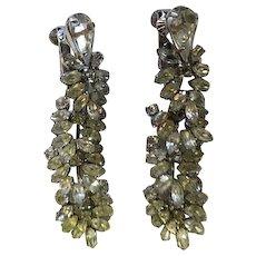 Vintage Vendome Rhinestone Dangle Earrings