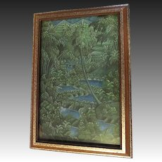 Vintage original tahitian Painting on canvas Tahiti