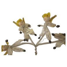 Vintage Christmas 1950s pipe cleaner Angels w/ mercury glass hands and feet JAPAN