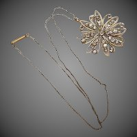 Vintage Art Deco Snow flake Pendant Necklace