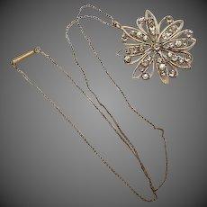 Vintage Art Deco Snow flake Pendant Necklace