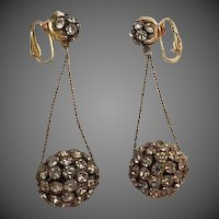 Vintage 1960s Rhinestone Disco Ball hanging Earrings