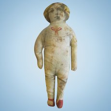 Antique Cabinet size Rag DOLL Litho face Cloth Doll
