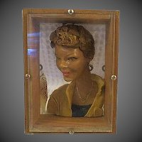 Original Campy Pop Art Sculpture Womans Portrait Sculpture shadow box