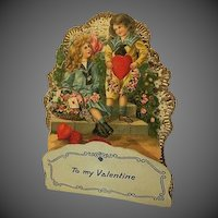 Old 1900s Die cut Valentine Card Ornate Gorgeous Stand Up printed in Germany