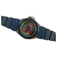 Animated Airplane Watch - 1980s Novelty Wristwatch - Rare Bi Plane Manual Wind - Blue Plastic Band - British Colony - Hong Kong