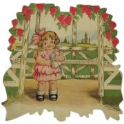 Vintage Valentines Day Card heart shaped  Childrens Card