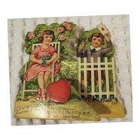 Vintage Valentines Day Card Boy Girl  Childrens Card