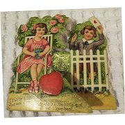 Vintage Valentines Day Card Boy Girl  Childrens Card