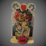 Vintage Valentines Day Card Boy Girl  Childrens Card Hearts