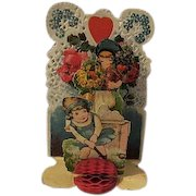 Vintage Valentines Day Card Boy Girl  Childrens Card Hearts