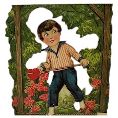 Vintage Valentine mechanical Boy with heart