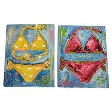 Painter Catie Radney Bikini Paintings Pink & Yellow polka dot Bikini