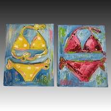 Painter Catie Radney Bikini Paintings Pink & Yellow polka dot Bikini