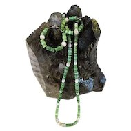 Vintage Green Mother of Pearl Necklace and Earring set Bamboo Styled Beads