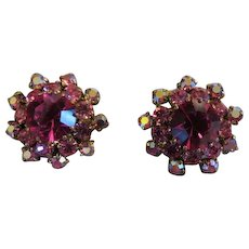Vintage Hot Pink Austrian crystal Clip on Earrings signed Austria