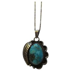 Vintage Sterling Silver & Turquoise Native American Indian Pendant Necklace