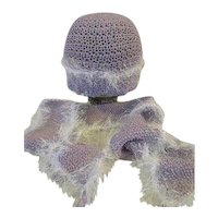 Womens Lavender Hand knit hat and scarf