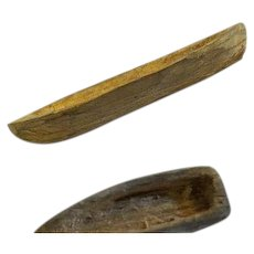 Vintage Two  hand carved wood miniature canoe