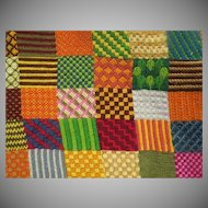 Vintage Needlepoint designed like a Quilt Country Classic