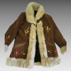 Vintage Womens Suede and sheep skin Jacket hand embroidery size XXS