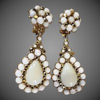 Jose & Maria Barrera White Dangle clip on earrings